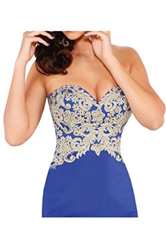 La_Marie Braut Royal Blau Rot Spitze Chiffon Abendkleider Partykleider Promkleider Meerjungfrau Rock Lang Royal Blau
