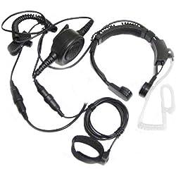 Tubo Policía Militar Profesional Tactique FBI flexible Garganta del micrófono del Mic encubierta acústica del auricular del receptor de cabeza de volumen ajustable para Midland GMRS / FRS GXT / 2 LXT radio de dos vías de 2 polos