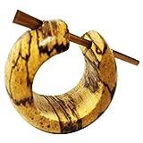 Chic-Net Damen Herren Pin Creolen Ohrringe aus Holz und Horn in Verschiedenen Hölzern Tamarindenholz