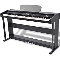 vidaXL Piano Numérique Pédale 88 Touche Noir Panneau Mélamine Piano Électrique