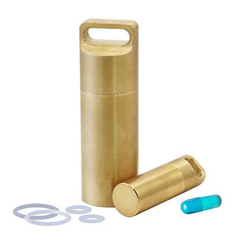 Shintop 2 Stück Messing-Pillendosen für Schlüsselanhänger, Wasserdichte Pillendose mit 4 Extra Ringen für Draußen und Reisen