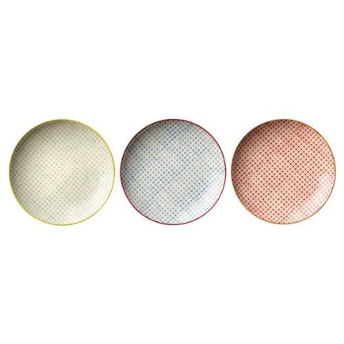 farbige teller Bloomingville Teller Pattern / 3-farbig sortiert / 3er Set / 20 cm ø/handmade