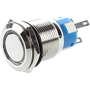 SODIAL(R) Bouton Poussoir Interrupteur Electrique 5A/12V 19mm LED Rouge Pour Voiture