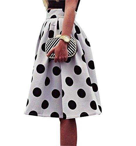 Rcool Damen Retro-figurbetonten Tupfen Regenschirm Kleid Blätterteig Flecky Rock Weiß (XL) (Polka Dot Satin-bh)