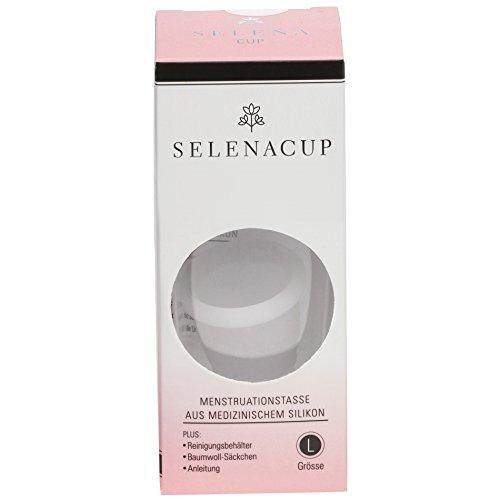 SELENACUP Menstruationstasse aus medizinischem Silikon inkl. Reinigungsbehälter und Aufbewahrungssäckchen (Größe L, weiß)