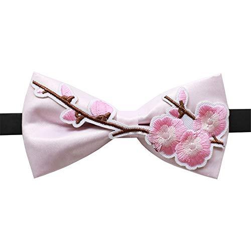 LILILICX Fliege Plum Stickerei Tuch Aufkleber Im Chinesischen Stil Chinesische Hochzeit Trauzeugen Brüder Männer Wald Fliege, Pink -
