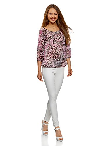 oodji Collection Donna Camicetta Stampata in Chiffon Rosa (2341E)
