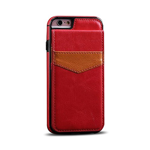 41aFBK8QAeL UK BEST BUY #1Galaxy S8 Case,Hica Retro Premium PU Leather Crazy Horse Pattern Shockproof Anti scratch Multifunction Protective Back Case with Kickstand and Card Slots for Samsung Galaxy S8 Red price Reviews uk
