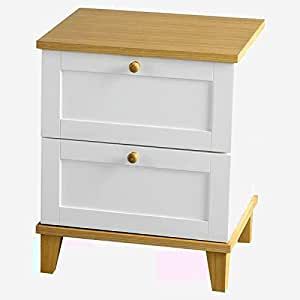 Mid century modern bedside table night stand slim cabinet for Narrow bedside table night stand