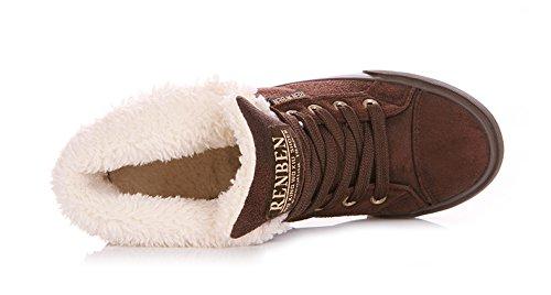 Minetom Women Lace Up Botas De Nieve Otoño Invierno Calzado Moda Mujer Pisos Caballero Zapatos Botines Marrón