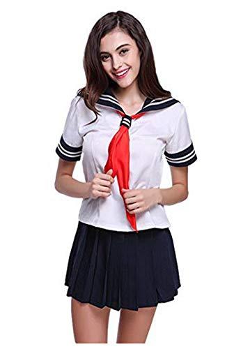 Evalent Uniforme de dessin animé japonais pour fille, Déguisement à manches courtes, Blanc et bleu foncé - Noir - L