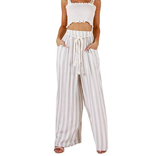 LXIANGP Frauen breite Beinhosen Mode gerade Taille gerade Hose haben Gürtel gestreiften halblangen Hosen Frühling und Sommer Straße lose Hosen (S-XL) -