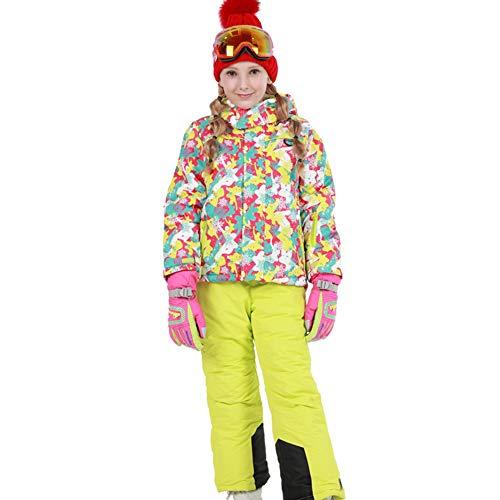 LPATTERN Traje de Esquí para Niños/Niñas Traje Conjunto de Nieve Impermeable para Deportes de Invierno, Rosa+Amariilo A, Talla:116-122/5-6 años