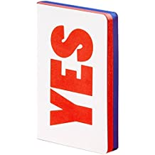 "nuuna Design Notizbuch Graphic S - ""Yes - No"" - Smooth Bonded Leather, Softcover, graues Mini-Punktraster, Farbschnitt, 176 Seiten Premium Papier, DIN A6, Rot/Blau/Weiß"