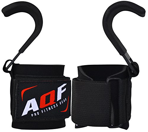 AQF Levantamiento Pesas Training Gym Hook Grips Correas
