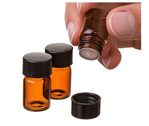 10 STÜCKE 3ml Braunglas Fläschchen Ätherisches Öl Flaschen mit Orifice Reducer und Schwarze Kappe für Ätherische Öle Lab Köln & Parfums (3ml) - Parfum Köln