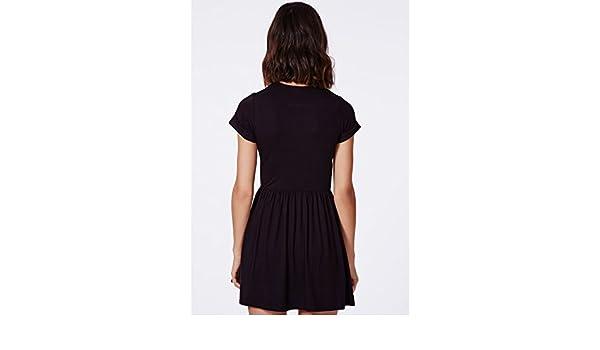 09c5f79149 Womens T-Shirt Aliveta T-Shirt Skater Dress In Black - 6  Amazon.co.uk   Clothing