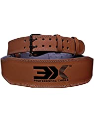 3X Opción profesional Cinturón de levantamiento de pesas de cuero genuino Pro 4