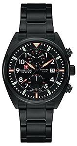 Swiss Military SM34222AEU/H02MS - Reloj de cuarzo para hombres con esfera negra y correa plateada de acero inoxidable de Swiss Military