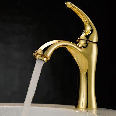 Wasserhahn im Retro-Stil, Kupfer mit einem Loch für heiße und kalte Wasserhähne auf der Plattform, europäischer Stil, Goldfarben, hohe Qualität für moderne und einfache klassische Retro Lu -