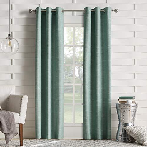 Sun Zero Randall Leinen Textur Thermo gefüttert Vorhang Panel, Grün (Mineral Green), 40