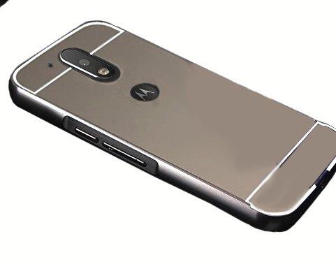CEDO Premium Luxury Metal Bumper Acrylic Mirror Back Cover Case For Moto G Plus 4th Gen (G4 Plus / 4th Generation) - Black