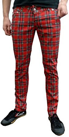uomo o donna Aderente In Tartan Punk Mod Jeans