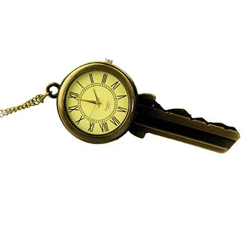 TU 54A Uhr mit riesigem Schlüssel als Anhänger und langer Kette in Altgoldoptik, Halskette Modeschmuck, von Kobert Goods