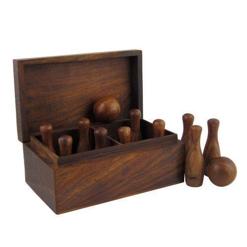 Shalinindia Indien Spiele Bowling Set Mit 10 Holz-Pins Und 2 Bällen In Passender Geschenkbox