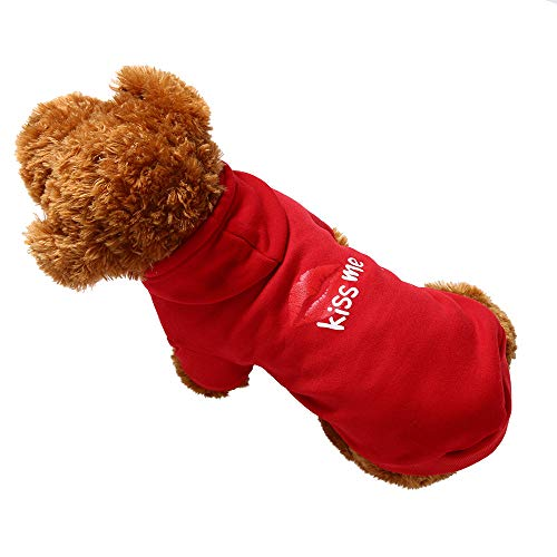 Artistic9 Hunde Hoodie Sweatshirts,Bedruckte Rote Lippe Kiss Me -