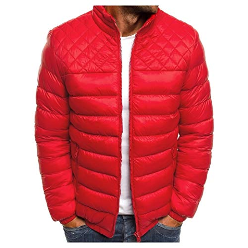 EnergyMen Fashion Brumal Zipper Stand Collar Pure Color Quilted Down Parka Red XS Quilted Down Parka