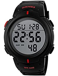 Naivo Men's Quartz Stainless Steel and Plastic Casual, Color:Black (Model: WATCH-1120)