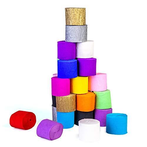 FVCENT Krepppapier, 30 Rollen Kreppbänder Bunt Krepppapier 15 Farben Kreppband bunt Bänder Crepe Paper Papier für Party Feier Weihnachten Dekoration