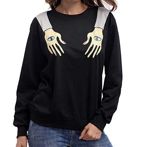 ZHRUI Frauen Mode Hände Augen gedruckt T-Shirt Persönlichkeit Bluse Arm Karte Drucken Casual Tops (Farbe : Schwarz, Größe : CN LUK 14)