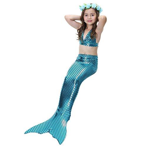 hibote 3PCS Mädchen-Badeanzug-Nixe-Schwanz-Badebekleidungs-Bikini-gesetzte Kostüm für Schwimmen Choice (Kostüme Schwimmen Uk Mädchen)