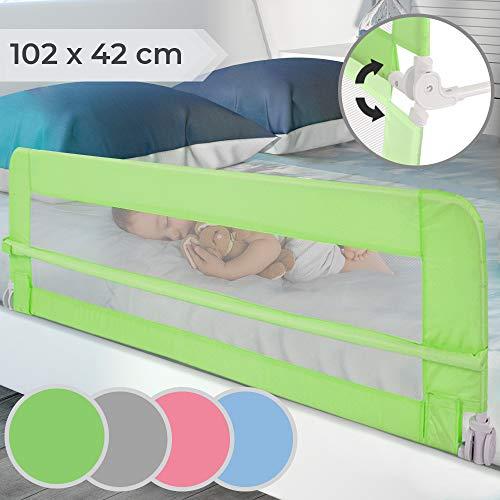 Barrera de cama   Abatible y Portátil, Color a elegir, Tamaño: 102/42cm, Fácil Instalación   Barandilla de Seguridad para Niños, Bebés, Protección contra caídas (Verde)
