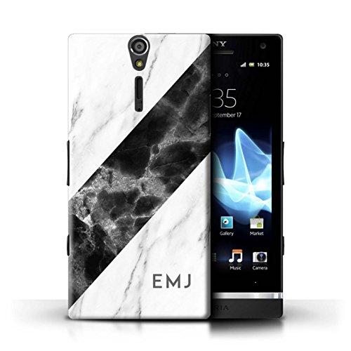 Stuff4® Personalisiert Individuell Marmor Hülle für Sony Xperia S/LT26i / Schwarze Schärpe Design/Initiale/Name/Text Schutzhülle/Case/Etui