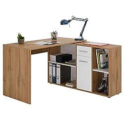 IDIMEX Schreibtisch Eckschreibtisch Carmen mit Regal 120x75x59 cm Winkelkombination in Wildeiche/weiß