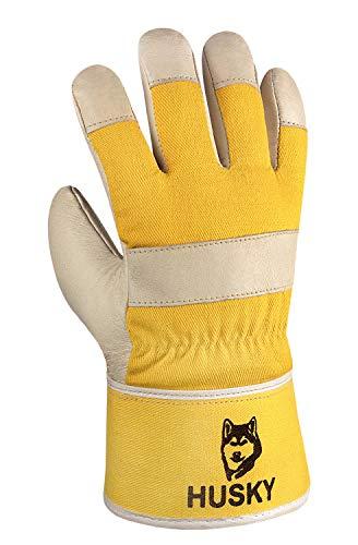 (120 Paar) teXXor Handschuhe Winterhandschuhe Husky 120 x Leder Natur/Drell gelb 10