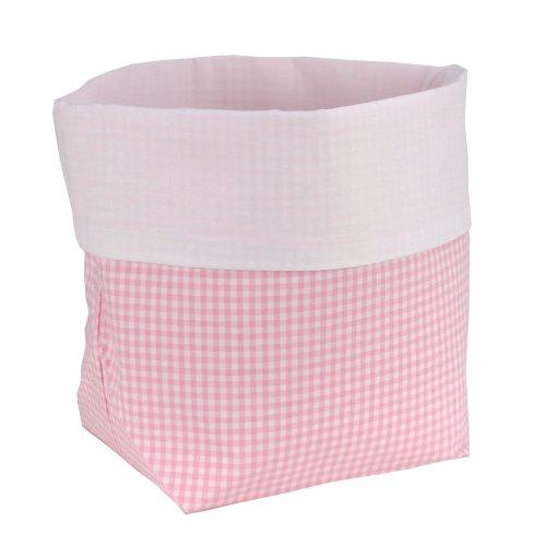 Sugarapple Utensilo Stoff Aufbewahrungsbox aus Baumwolle 19 x 13,5 x 13,5 cm, Stoffbox fürs Bad, als Wickeltisch Organizer oder Windelspender Korb, Karo rosa (Karo Bad)