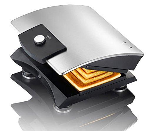 Melissa Exido 12240004–Designer Sandwich im Brot/Sandwich im Hersteller von Edelstahl Robust–Silber/Schwarz–ideal zum Zubereiten von kleinen Snacks Schnelle.,