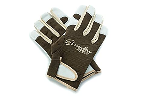 Leather Gardening Gloves for Women and Men. Adjustable Fastener and Breathable Spandex Back. Ideal for General Garden Tasks