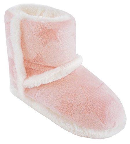 Mädchen / Kinder Kunstpelz Gefütterter Stern Geprägt Hausschuhe Stiefel Rosa