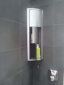 Meuble rangement d 39 angle salle de bain argent m tallis cui - Miroir d angle pour salle de bain ...