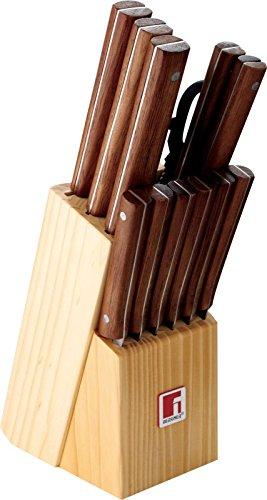 Bois Bloc à couteaux Set de couteaux Set de couteaux 13 pièces SET DE Couteaux de cuisine ensemble avec ciseaux (Ciseaux de cuisine, fusil à aiguiser aiguiseur couteau, couteau de cuisine, couteau à pain, 6 couteaux à steak, éplucheur)