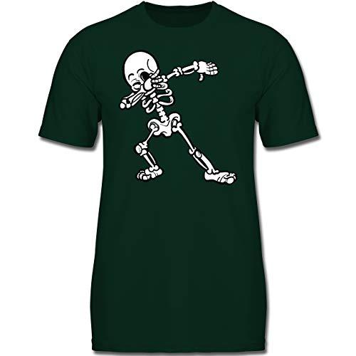 Anlässe Kinder - Dabbing Skelett - 116 (5-6 Jahre) - Tannengrün - F130K - Jungen Kinder T-Shirt (Jungen Halloween-kostüme 2019)