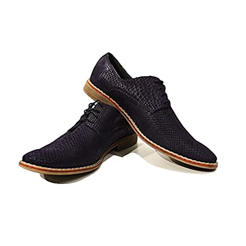 Modello Biagio - UK 5 - Handmade Italian Leather Mens Navy Blue Oxfords Dress Shoes - Calfskin Suede -