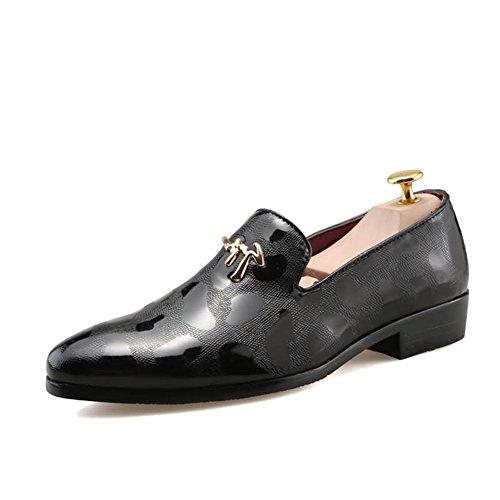 Männer Schuhe, Herrenschuhe PU Frühling Herbst Flache Müßiggänger Formale Schuhe Spitz Kleid Hochzeit Abendgesellschaft Schwarz, Silber, Gold,Schuhe (Farbe : Schwarz, Größe : 41)