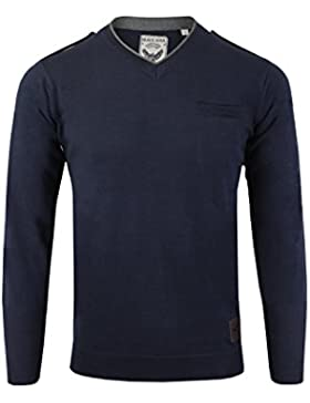 Para hombre Jersey por Brave Soul 'Olga' V cuello jersey de punto jersey tamaños S–XL