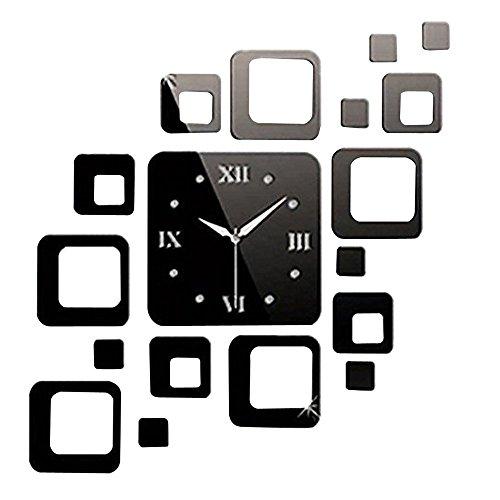 Forepin® Design Moderno Deluxe Tridimensionale 3D Orologi da Parete Sticker Decorativi Acrilico Plastica Specchio Numeri Murales Sticker Wall Watch Clock Casa Ufficio Hotel Ristorante Decorazione Modello 5 - Forma Quadrata